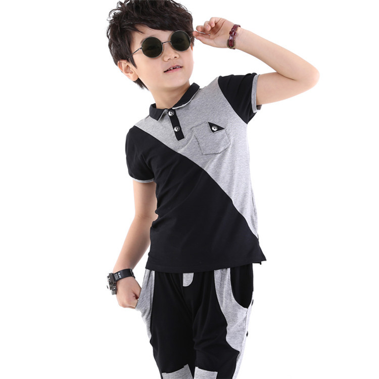 2015 summer fashion new styles kids clothes sets little boys short sleeve t-shirt and middle pants casual two-piece sets TK14020(China (Mainland))