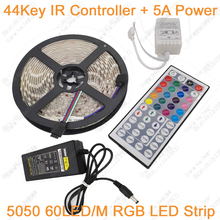 Buy 5M RGB IP20 / IP65 Waterproof LED Strip Light 5050 60LED/M DC12V LED Tape+44 Keys Remote Controller+12V 5A Power Adapter set for $14.37 in AliExpress store