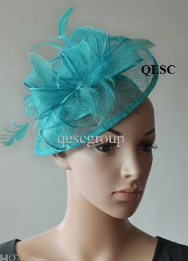 Turquoise Blue Sinamay Fascinator sinamay hat with feathers for wedding/party/races.FREE SHIPPING(China (Mainland))