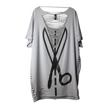 2016 Summer Fashion Punk Rock Designer Hipster Casual Grey Sexy Cut Out Hollow Tee Tops Scissors Print Blusas T Shirt for Women(China (Mainland))