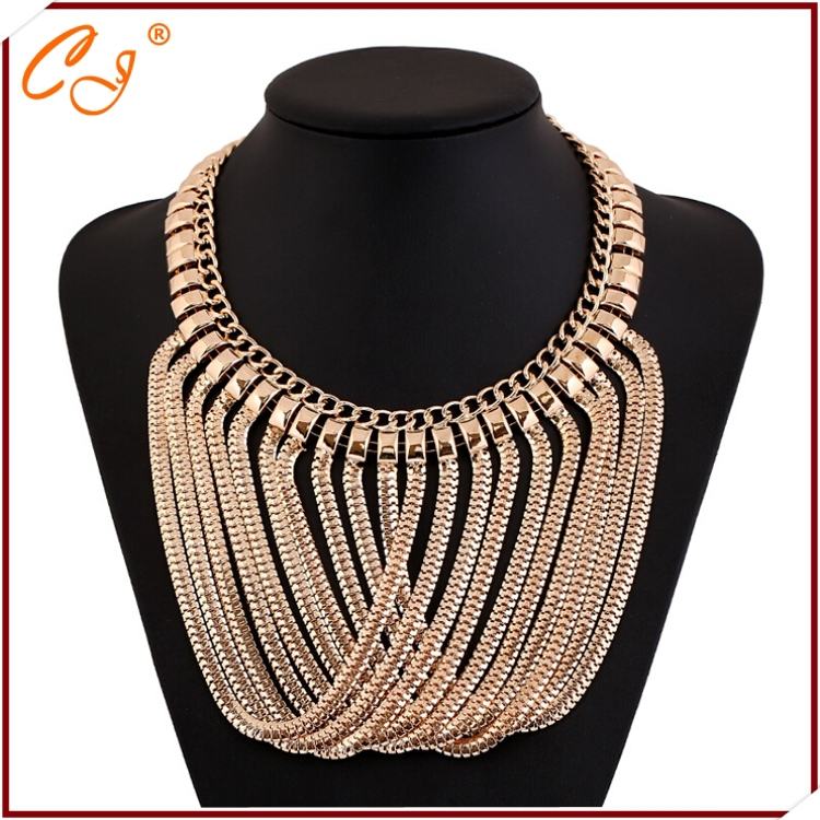 The new European and American fashion female accessories manufacturers wholesale golden tassels necklace(China (Mainland))