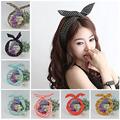 1Pc Cute Leopard Dots lip print flower Bunny Rabbit Ear Ribbon Headwear Hairband Metal Wire Scarf