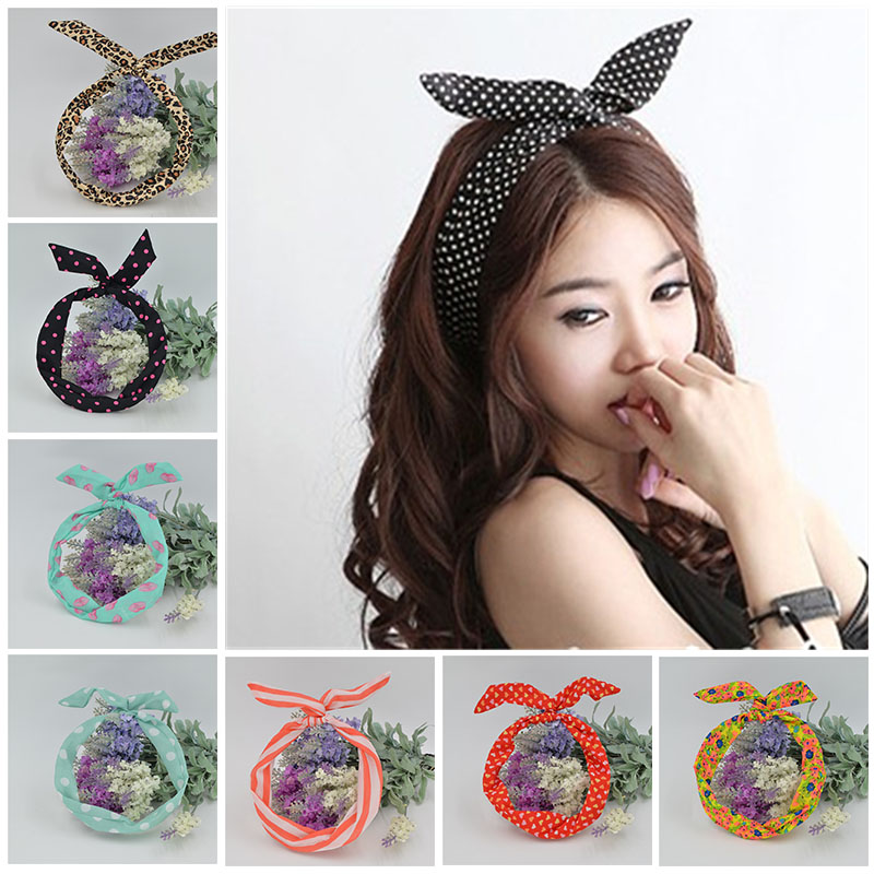 1Pc Cute Leopard Dots lip print flower Bunny Rabbit Ear Ribbon Headwear Hairband Metal Wire Scarf Headband Hair Band Accessories(China (Mainland))