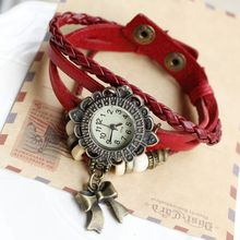 Free shipping wholesale dropship 2015 hot sale fashion braided handmade cartoon bowknot sunflower quartz watch ladies leather