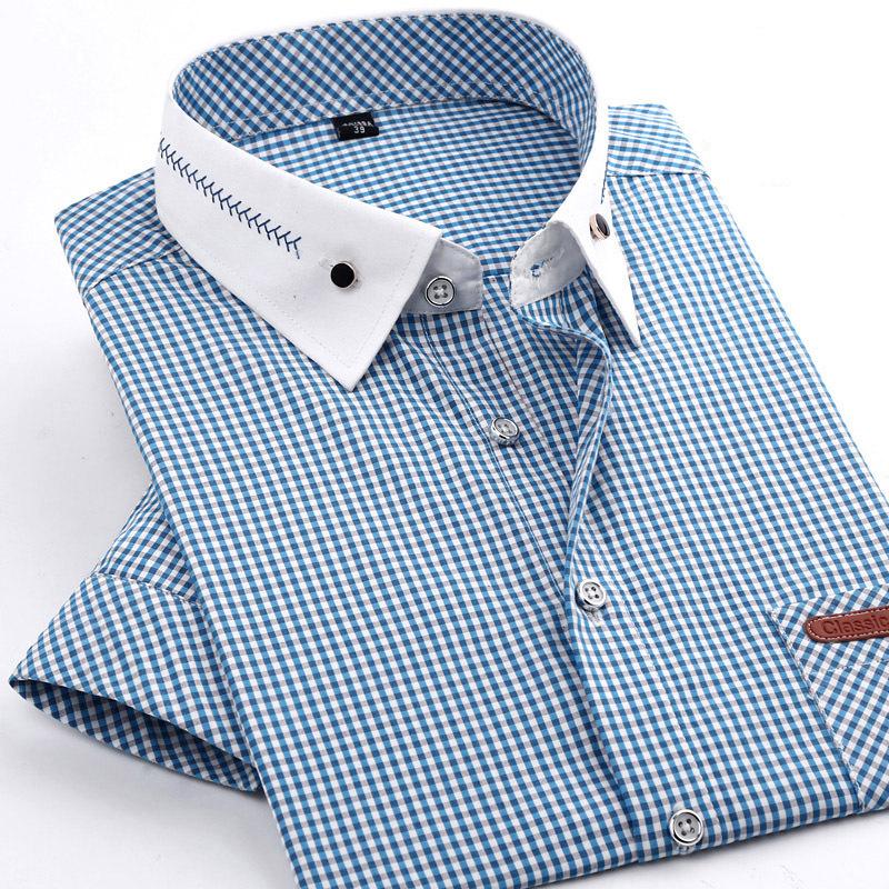 Short Sleeve Men shirts 2015 new summer style Casual shirts male slim fit Quality plaid shirts 4xl mens shirts free shipping(China (Mainland))