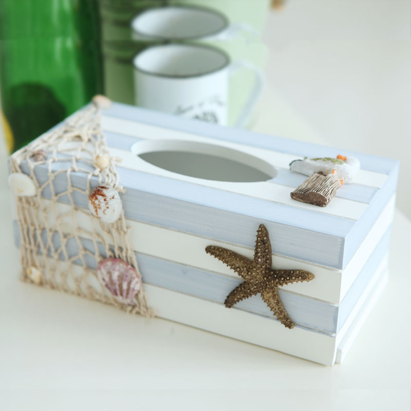 Mediterranean Ocean wood tissue box home decoration handmade fish/sea star/bird/Anchors/sailboat crafts home decorations gift(China (Mainland))