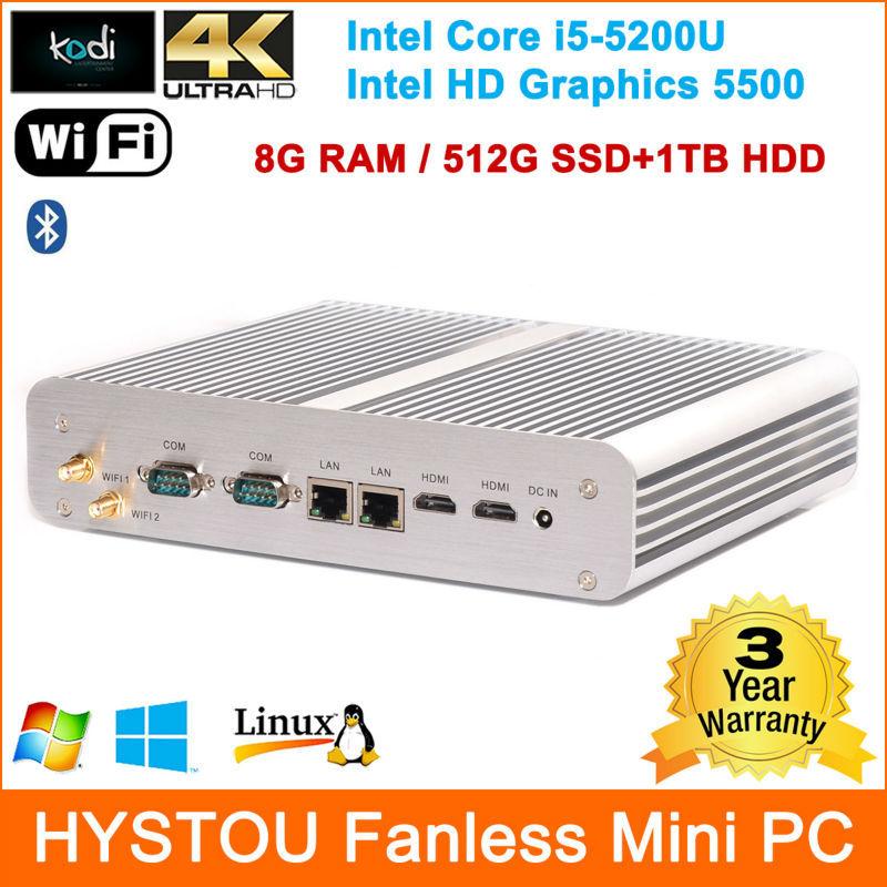 Hystou Nettop PC Mini PC Intel i5 5200U CPU HD Graphics 5500 4K/2*RJ45 Lan/2*HDMI 8GB RAM SSD+HDD dual storage Free DHL shipping(China (Mainland))