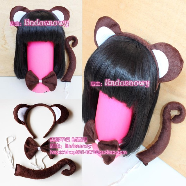 Cos props animal piece set hair accessory headband dark brown monkey ear