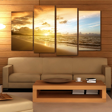 Cheap Sale Ocean Sunset 4pcs Printed Painting Oil Painting On Canvas Oil Painting for Home Decor Wall Decor(China (Mainland))