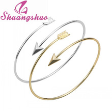 Min 1pc Gold and silver Adjustable Arrow Bangle Bracelets Wire bracelet bangles Simple bangles women bangles SZ016(China (Mainland))