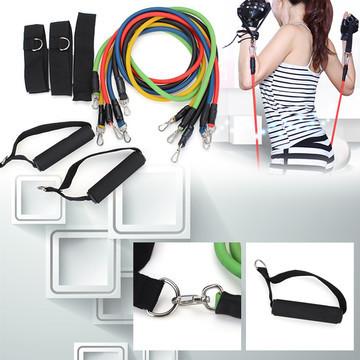 150lbs 11 PCS Latex Resistance Bands Set Resistance Tube Elastic Exercise Bands for Yoga Pilates Workout