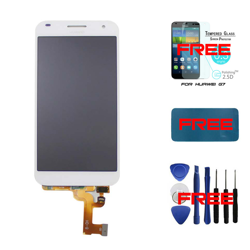 White- 100% Original For Huawei Ascend G7 LCD display+Touch Screen Digitizer Assembly glass lens replacement+free tempered glass