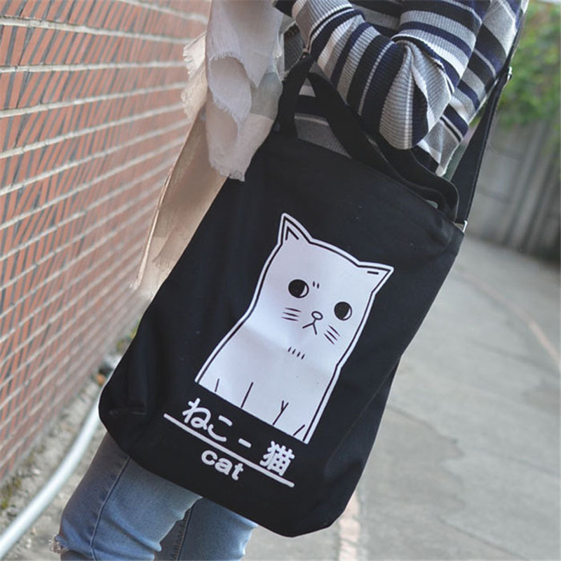 Cat Tote Bag Black White Canvas Tote Bags Women Travel Lagre Pet Shopping Bags High Quality Printed Kawaii Animal Cute Handbag(China (Mainland))