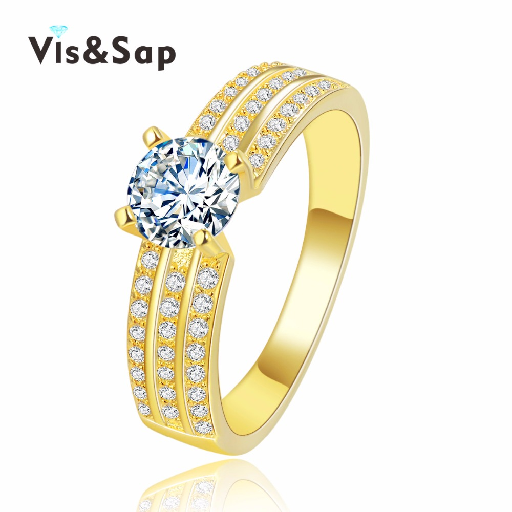 18k Yellow Gold Plated Wedding Engagement Rings For Women Cz Diamond  Vintage Bague Luxury Fashion Jewelry Wholesale Vsr138