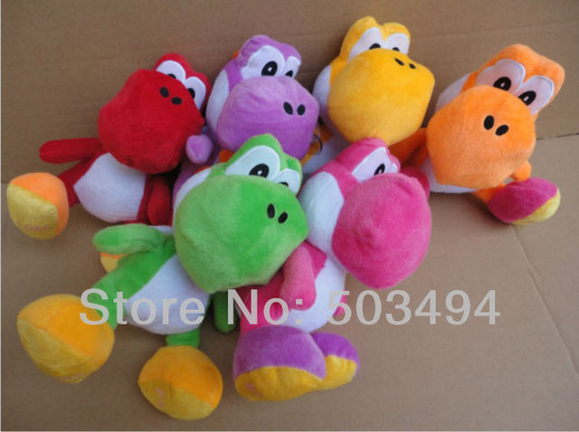 "Free shipping 24/Lot  Super Mario Bros Yoshi Plush Toy Anime 7.8"" Cos Figure Runing Yoshi Doll"