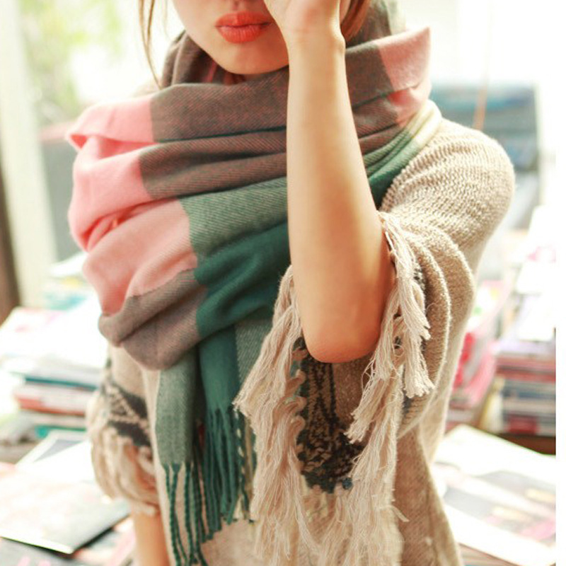 Гаджет  High Quality 2015 New Winter Scarf Women Shawls And Scarves Knitted Blanket Scarf Warm Desigual Plaid Winter Scarf Free Shipping None Одежда и аксессуары
