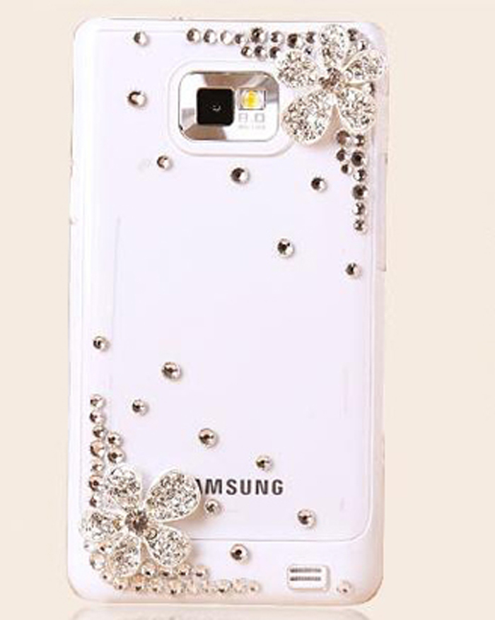 2015 new women 3D Five Leaf Silver Flower Bling Crystal Case For Samsung Galaxy S2 i9100 phone cases(China (Mainland))