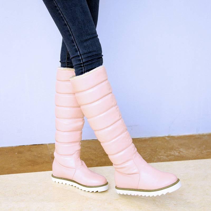 ซื้อ พลัสSize34-43 2016แฟชั่นใหม่ผู้หญิงลงรองเท้าออกแบบรองเท้าแฟลตสูงยาวเข่ารองเท้าหิมะฤดูหนาวของผู้หญิงSBT1322