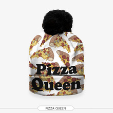 Winter 3D Digital Print pizza queen retro pompon Unisex Warm Casual Soft Knit Gorro Caps For Men Women Children Beanies hat