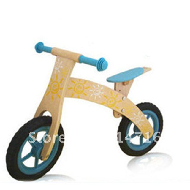 Free shipping 2012 mini children's wooden ride on bike toy
