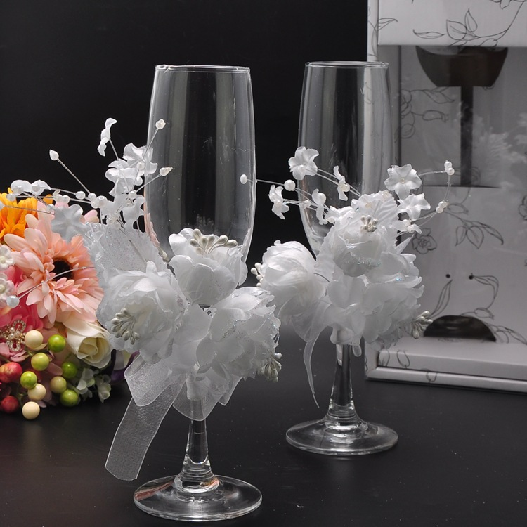 Wedding champagne glass set decor hanap red wine cup