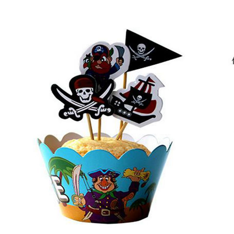 24 pcs pirate Outdoor sports football theme Party Paper Cupcake wrappers toppers children boy birthday party decoration cakes(China (Mainland))