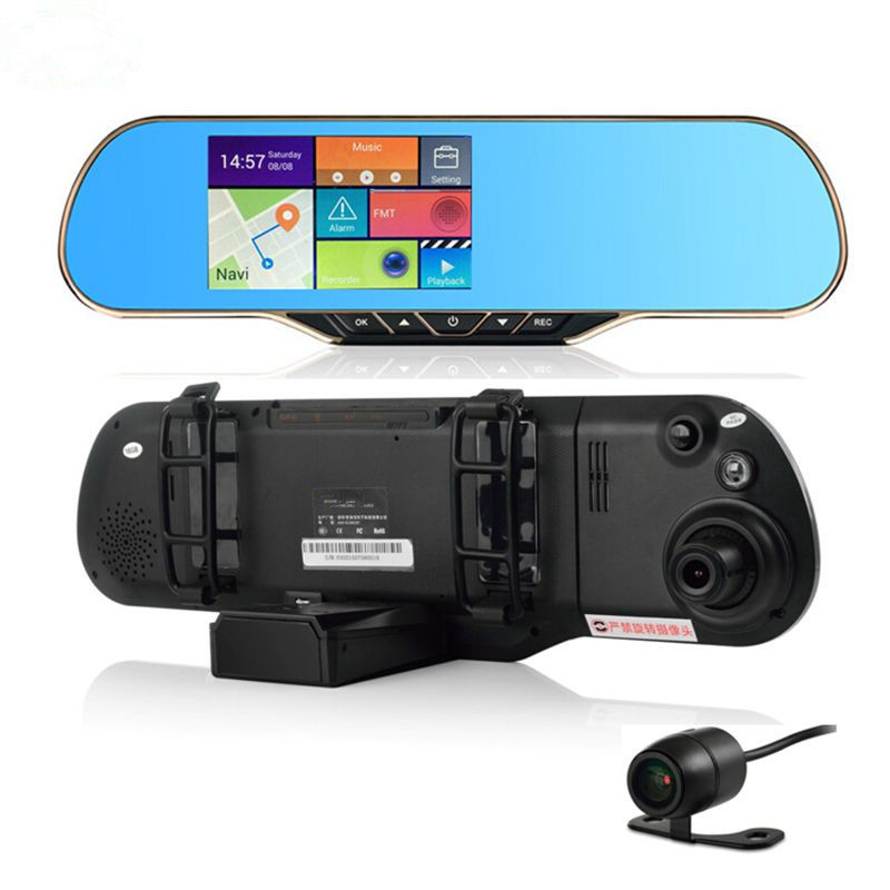 New 5 inch Android 4 4 2 Mirror GPS Navigation DVR FHD1080P Radar Detector Rearview Camera