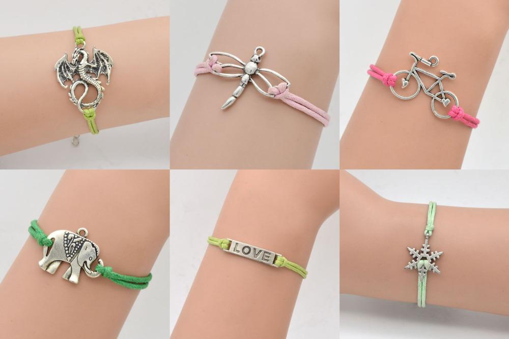 Bike Love Bracelet Elephant Dragonfly Snow Dragon Rope Charm Wedding Jewelry Unisex Christmas Gift - LXF1860 store