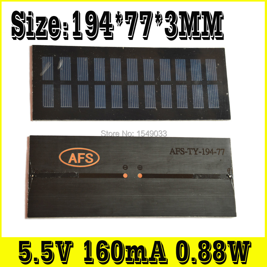 NEW 2pcs 5.5V 160mA 0.88W  Size 194*77*3 solar panels photovoltaic module PV module Solar Power<br><br>Aliexpress
