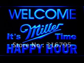646-b Welcome Miller Time Happy Hour Bar LED Neon Sign