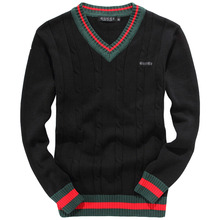 Autumn Winter New Fashion Men Famous Brand Sweaters Men's V Neck Pullover Sweater Plus Size 4 Colors(China (Mainland))