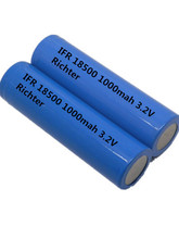 Richter Brand IFR Rechargeable Battery 18500 -1000mah -3.2V flat head  for Consumer Electronics