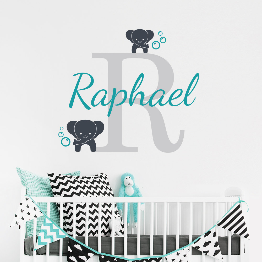 customized name elephant wall decal for kids room nursery boy 39 s name wall decal elephants vinyl. Black Bedroom Furniture Sets. Home Design Ideas