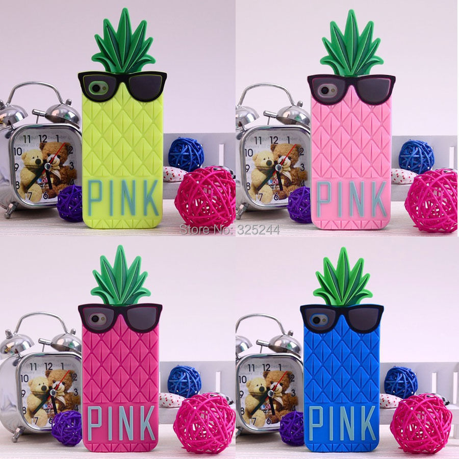 Five Colors Cute 3D Pineapple Design Silicone Soft Case Cover Apple Iphone 4 4S 4G 5 5G 5S 5C - Sunshine Trade (Shenzhen store Co.,LTD)