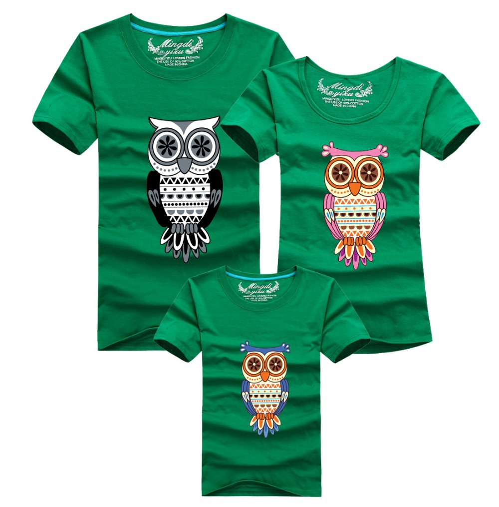 1 piece 95% Cotton Cartoon Shirt Owl Red T Shirts Short Sleeves Matching Family Clothing Kid Mom Dad T Shirt Plus Size Shirt(China (Mainland))