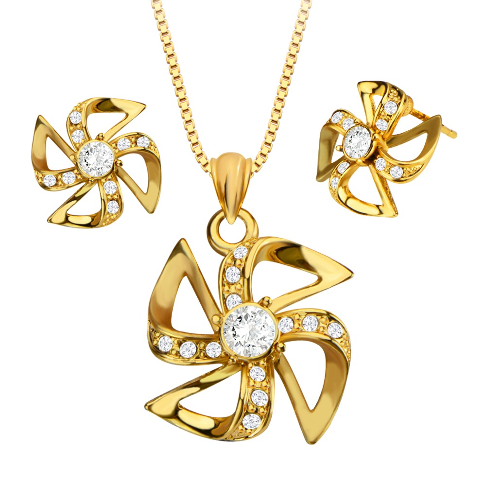 Vintage 18k Gold Plated Windmill Necklace&Earrings Special Jewelry Set for Women Gift Wholesale S20161(China (Mainland))