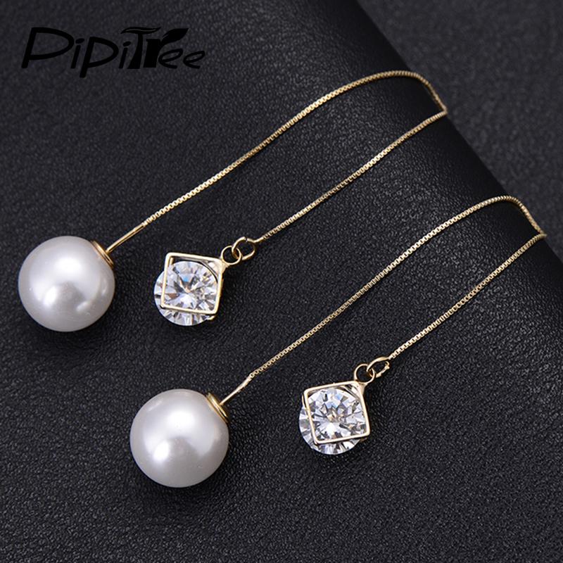 Unique Buy Gold Rhinestone Pearl Long Hook Stud Earrings Women Jewelry | BazaarGadgets.com