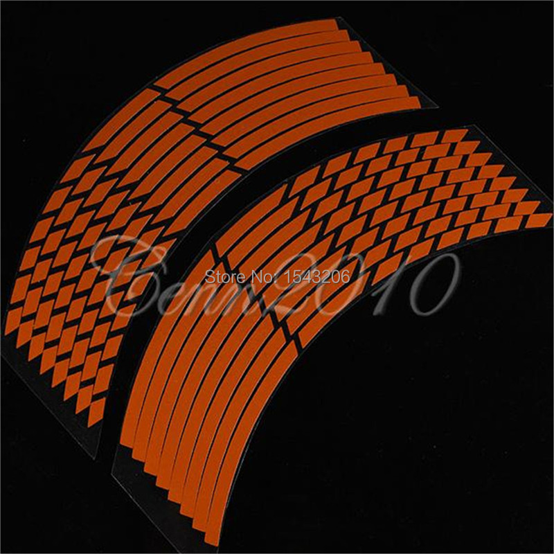 16 Strips Wheel Sticker Reflective Rim Stripe Tape Bike Motorcycle Car 16 17 18inch