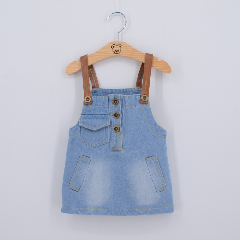 2016 New Summer Kids Denim Strap Dresses Sweet Tolddre Girls Sling Dress with Pockets  Front  Light Color Denim Dresses 6pcs/lot<br><br>Aliexpress