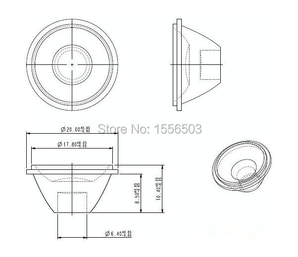 10 pcs  lot 20mm 5 10 15 30 45 60 90 120 degree angle led
