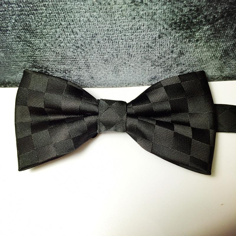 Free shipping mens stars tuxedo black check pattern jacquard bow tie/groom stage performance bow tie/tuxedo tie(China (Mainland))