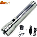 Solar Zoomable 3 Modes Waterproof LED Flashlight 200lumens 3W led rechargeable flashlights high powered flashlight rechargeable