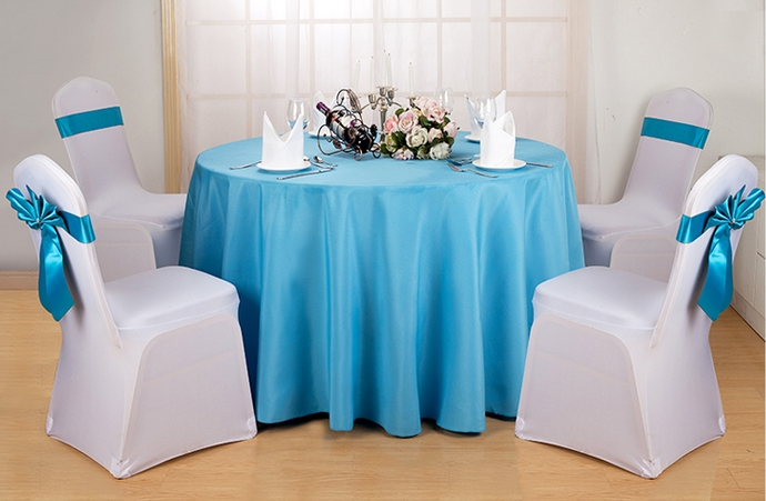 Turquoise colour round decorative table cover polyester table linen for wedding hotel round tables decoration wholesale on sale(China (Mainland))