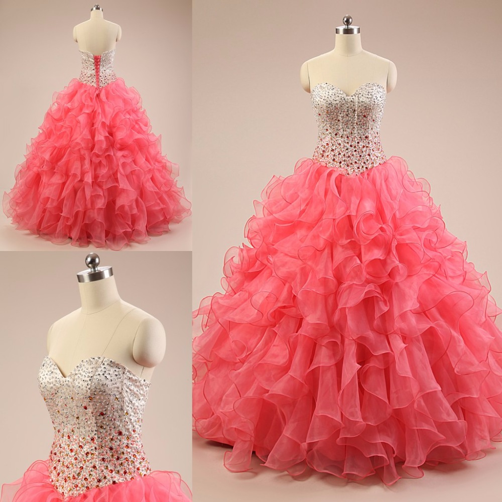 2016 New Watermelon Quinceanera Dresses Cheap Sweetheart Lace Up Beads Sequined Ruffles For Sweet 16 Formal Pageant Dresses