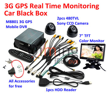 Free DHL Shipping 3G GPS Car Black Box 2pcs Cameras 1pcs Monitor Screen 1pcs HDD Reader, All Car Black Box Kit Need are Included