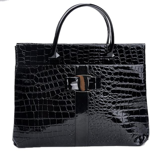Hot Sale Women Handbag Luxury OL Lady Crocodile Pattern Hobo Tote Shoulder Bag Black & Red