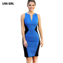 Buy Pencil Dresses 2017 explosion European American fashion sexy V-neck stitching sleeveless women summer dress 601 for $13.00 in AliExpress store
