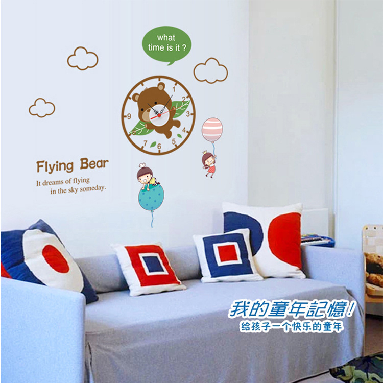 1 piece 70*70CM Creative Flying Bear Clocks Wall Stickers Kids Room Home Decoration 3d Clock
