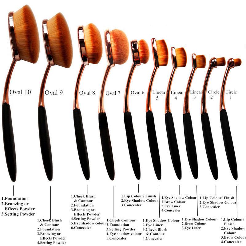 1Set Oval Tooth Brush Powerder Lips Blush Foundation Eye Makeup Brush Tool(China (Mainland))