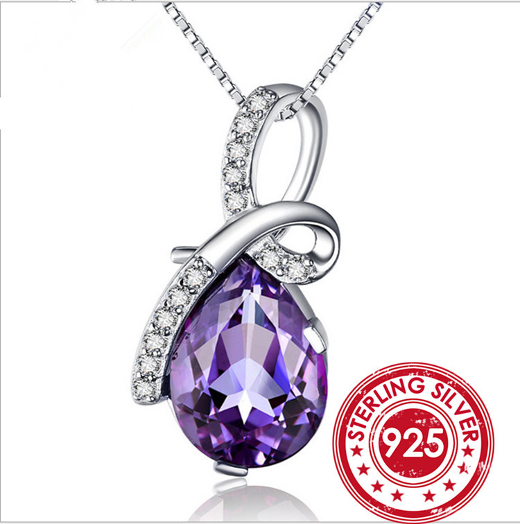 3ct Natural Crystal Amethyst Pendant Necklace Princess Diana Engagement Wedding Genuine Zircon Solid 925 Sterling Silver Jewelry(China (Mainland))